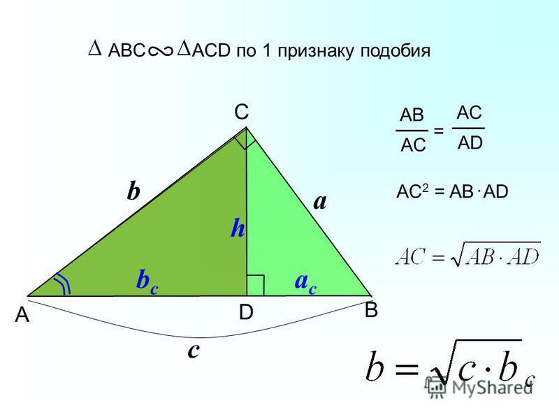 B ABC ACD по 1 признаку подобия C A D b a c bcbc acac h AB AC = AD AC 2 = AB AD