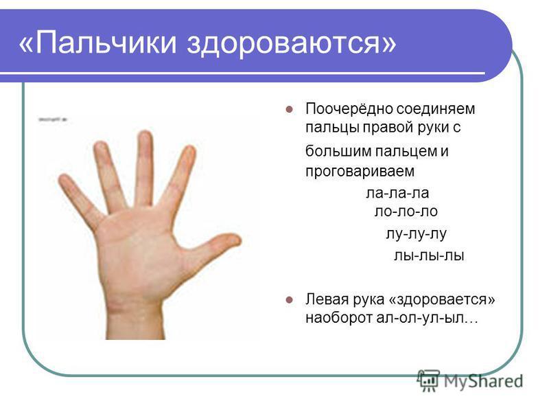 «Пальчики здороваются» Поочерёдно соединяем пальцы правой руки с большим пальцем и проговариваем ла-ла-ла ло-ло-ло лу-лу-лу лы-лы-лы Левая рука «здоровается» наоборот ал-ол-ул-ббыл…