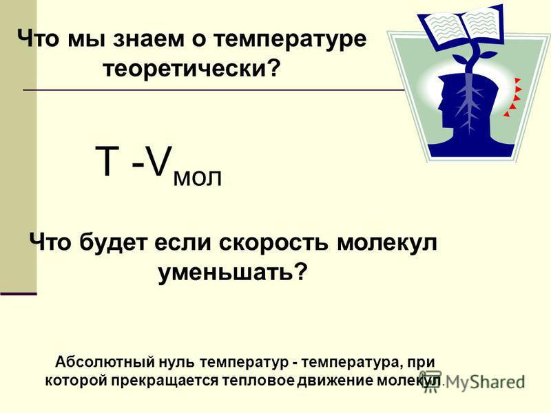 Что мы знаем о температуре теоретически? Т -V мол Что будет если скорость молекул уменьшать? Vмол =0 !?!? Абсолютный нуль температур - температура, при которой прекращается тепловое движение молекул.