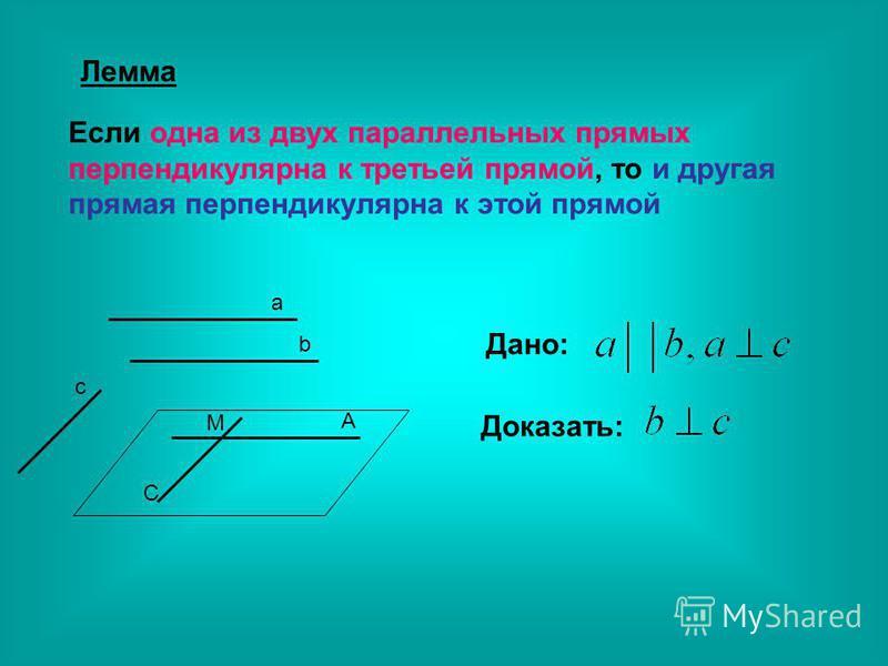 Лемма Если одна из двух параллельных прямых перпендикулярна к третьей прямой, то и другая прямая перпендикулярна к этой прямой a b c A C M Дано: Доказать: