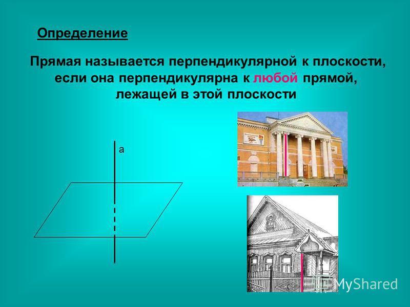 Определение Прямая называется перпендикулярной к плоскости, если она перпендикулярна к любой прямой, лежащей в этой плоскости a