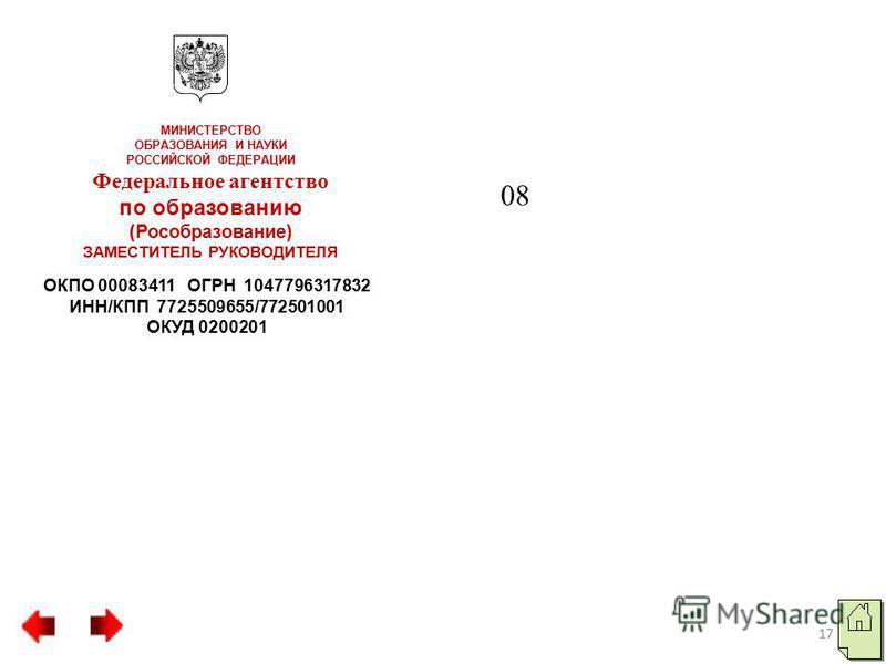 ОКПО 00083411 ОГРН 1047796317832 ИНН/КПП 7725509655/772501001 ОКУД 0200201 МИНИСТЕРСТВО ОБРАЗОВАНИЯ И НАУКИ РОССИЙСКОЙ ФЕДЕРАЦИИ Федеральное агентство по образованию (Рособразование) ЗАМЕСТИТЕЛЬ РУКОВОДИТЕЛЯ 08 17
