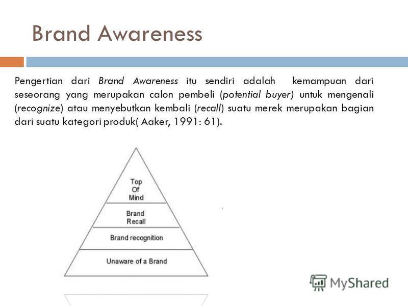 Brand Awareness Pengertian dari Brand Awareness itu sendiri adalah kemampuan dari seseorang yang merupakan calon pembeli (potential buyer) untuk mengenali (recognize) atau menyebutkan kembali (recall) suatu merek merupakan bagian dari suatu kategori
