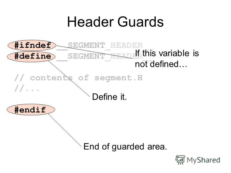 Header Guards #ifndef __SEGMENT_HEADER__ #define __SEGMENT_HEADER__ // contents of segment.H //... #endif To ensure it is safe to include a file more than once. If this variable is not defined… Define it. End of guarded area.