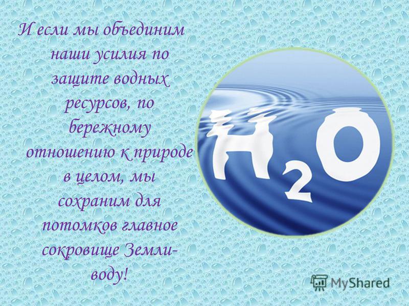 И если мы объединим наши усилия по защите водных ресурсов, по бережному отношению к природе в целом, мы сохраним для потомков главное сокровище Земли- воду!