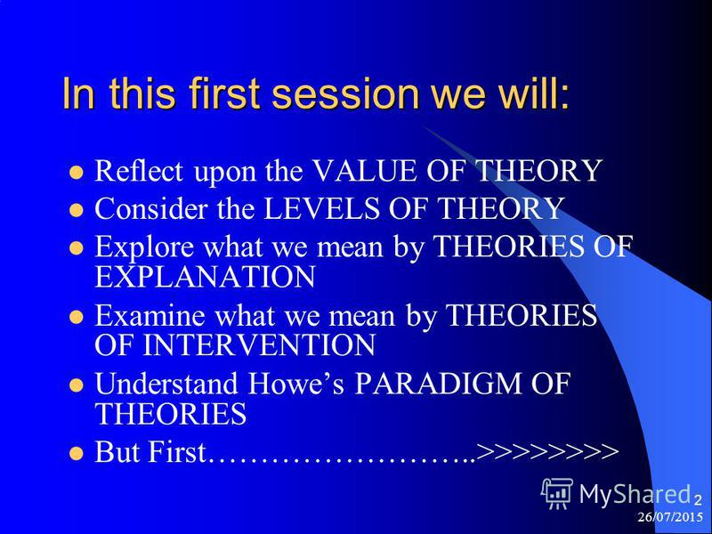 26/07/2015 1 What Do We Mean By Theory? Social Theories II BSc Social Work: Level III Nigel Horner