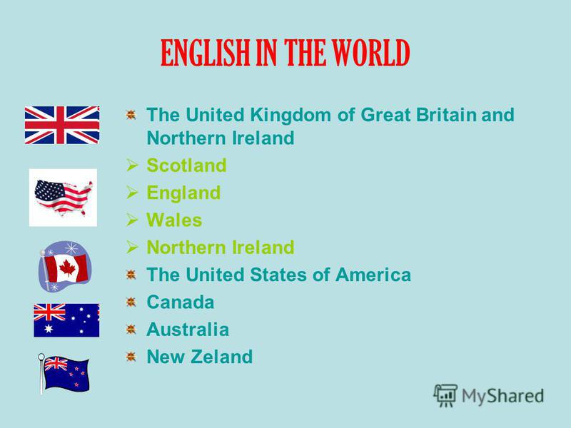 ENGLISH IN THE WORLD The United Kingdom of Great Britain and Northern Ireland Scotland England Wales Northern Ireland The United States of America Canada Australia New Zeland