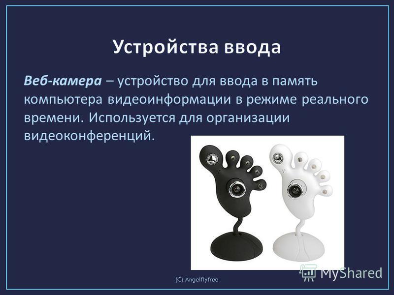 Веб - камера – устройство для ввода в память компьютера видеоинформации в режиме реального времени. Используется для организации видеоконференций. (C) Angelflyfree