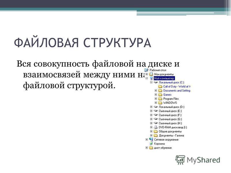 ФАЙЛОВАЯ СТРУКТУРА Вся совокупность файловой на диске и взаимосвязей между ними называется файловой структурой.