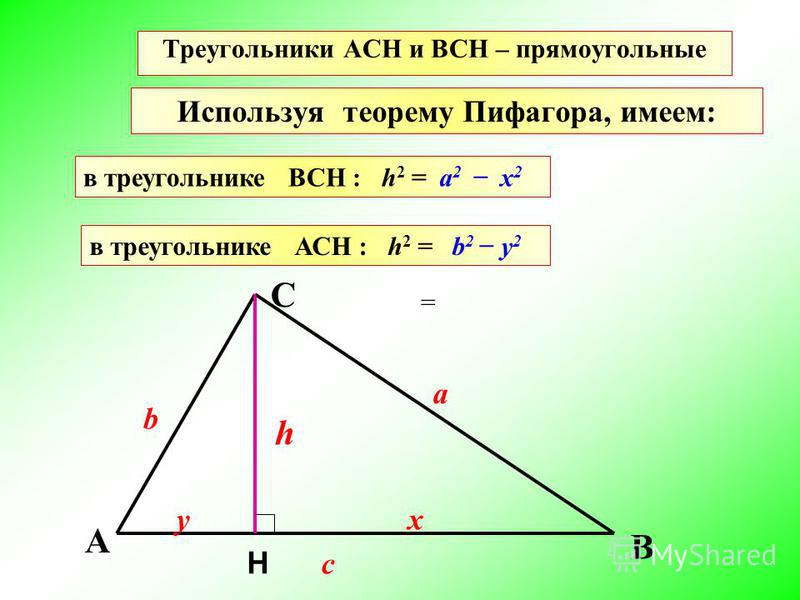 Треугольники АCН и ВСН – прямоугольные Используя теорему Пифагора, имеем: в треугольнике ВСН : h 2 = в треугольнике АСН : h 2 = a 2 х 2 b 2 у 2 А b Н B C у a h х c =