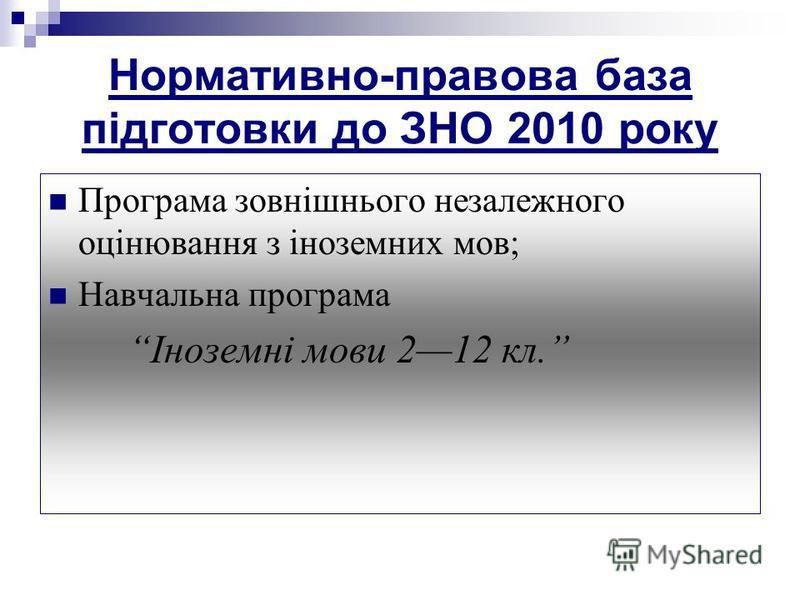 Нормативно-правова база підготовки до ЗНО 2010 року Програма зовнішнього незалежного оцінювання з іноземних мов; Навчальна програма Іноземні мови 212 кл.