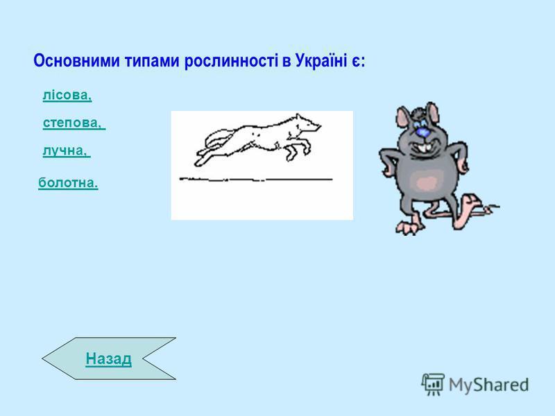 Основними типами рослинності в Україні є: Назад лісова, степова, лучна, болотна.