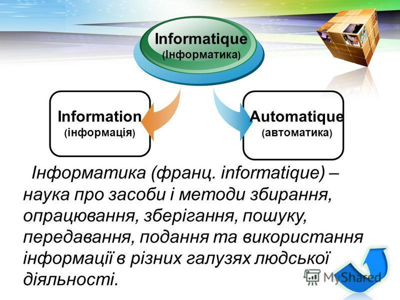LOGO Information ( інформація ) Informatique ( Інформатика ) Automatique ( автоматика ) Інформатика (франц. informatique) – наука про засоби і методи збирання, опрацювання, зберігання, пошуку, передавання, подання та використання інформації в різних
