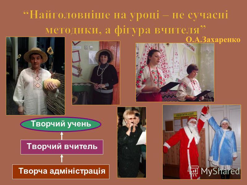 О.А.Захаренко Творчий вчитель Творчий учень Творча адміністрація