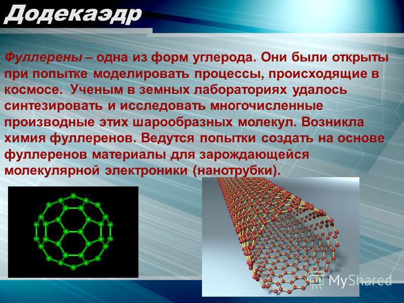 Додекаэдр Фуллерены – одна из форм углерода. Они были открыты при попытке моделировать процессы, происходящие в космосе. Ученым в земных лабораториях удалось синтезировать и исследовать многочисленные производные этих шарообразных молекул. Возникла х