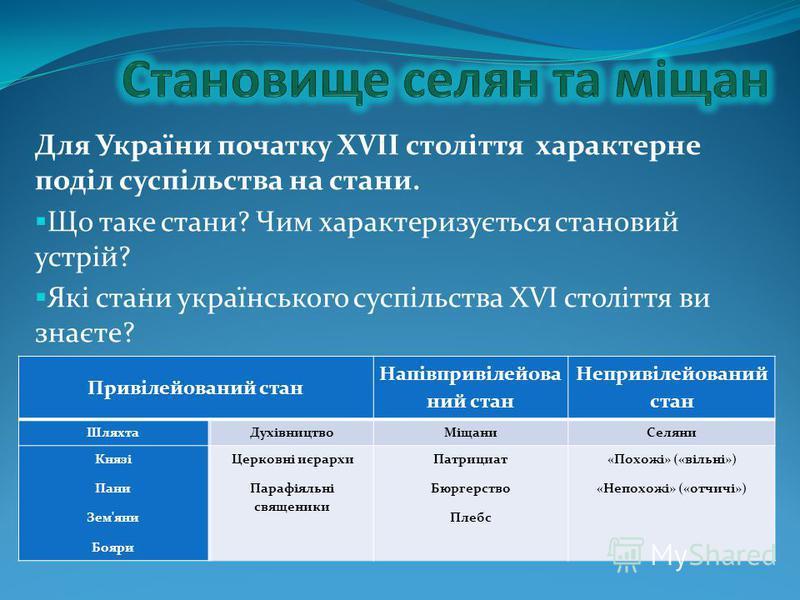 Для України початку ХVII століття характерне поділ суспільства на стани. Що таке стани? Чим характеризується становий устрій? Які стани українського суспільства ХVI століття ви знаєте? Дайте їм характеристику. Привілейований стан Напівпривілейова ний