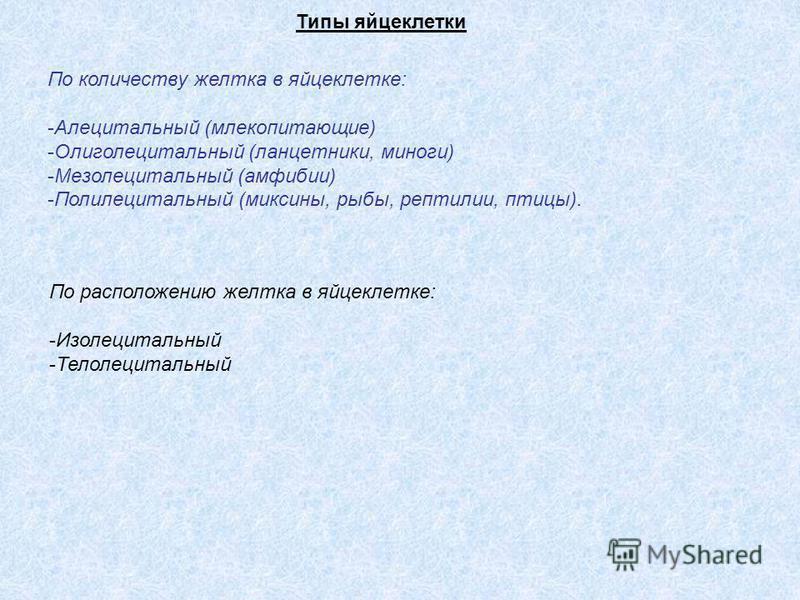 Типы яйцеклетки По количеству желтка в яйцеклетке: -Алецитальный (млекопитающие) -Олиголецитальный (ланцетники, миноги) -Мезолецитальный (амфибии) -Полилецитальный (миксины, рыбы, рептилии, птицы). По расположению желтка в яйцеклетке: -Изолецитальный