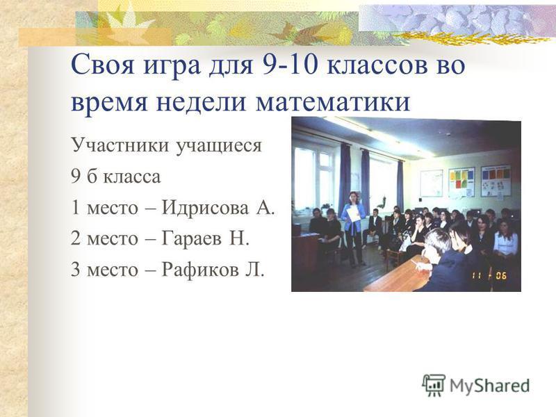 Своя игра для 9-10 классов во время недели математики Участники учащиеся 9 б класса 1 место – Идрисова А. 2 место – Гараев Н. 3 место – Рафиков Л.