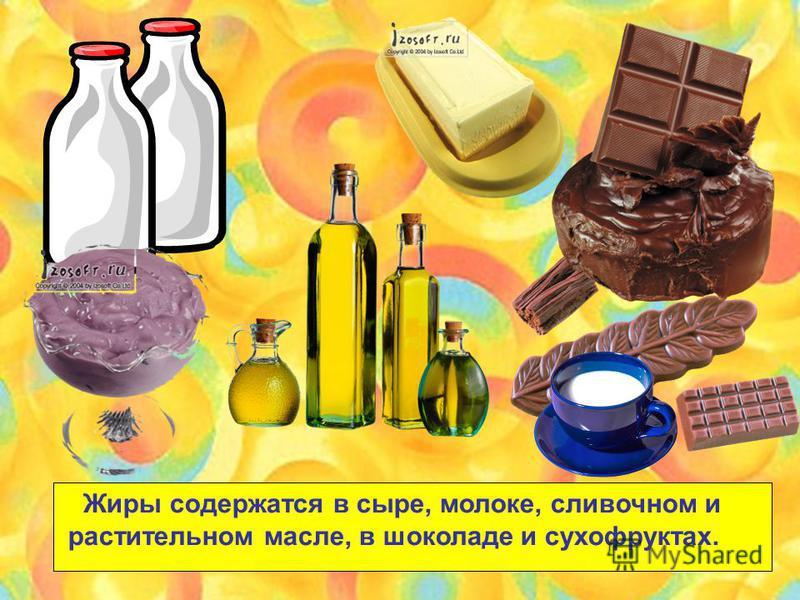 Жиры содержатся в сыре, молоке, сливочном и растительном масле, в шоколаде и сухофруктах.