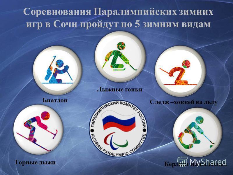 Соревнования Паралимпийских зимних игр в Сочи пройдут по 5 зимним видам Горные лыжи Биатлон Лыжные гонки Следж –хоккей на льду Керлинг на колясках