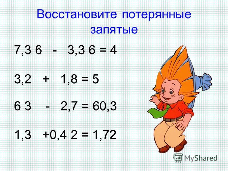 Восстановите примеры 7,9 6, 7 + 2,31 23, 0,4 - 1,04 7,5 3, 6 + 59,47, 1 0,125 - 0,876 + 4 3 5 8 6 5 2 2 1 91 2 001