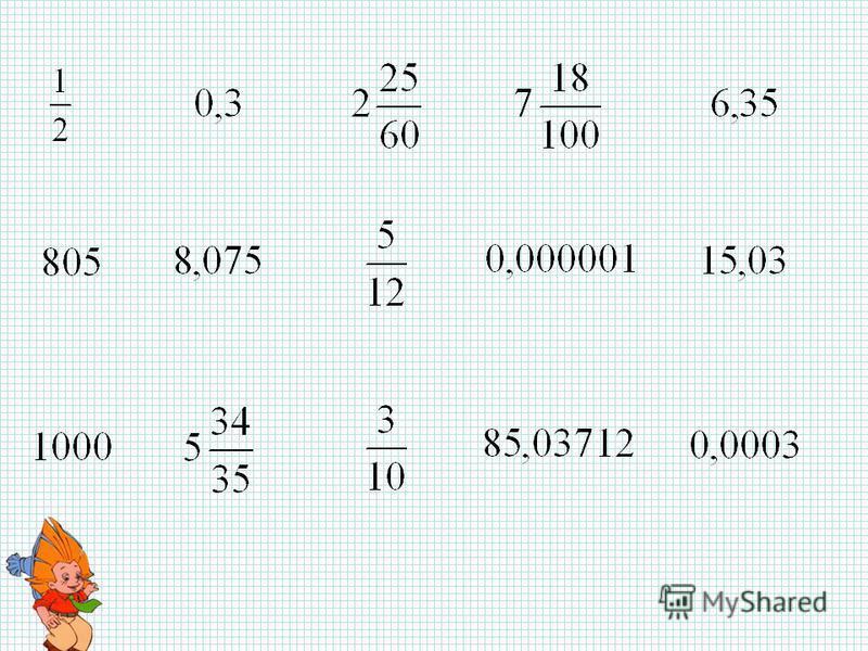 Знания имей отличные по теме «Дроби десятичные»