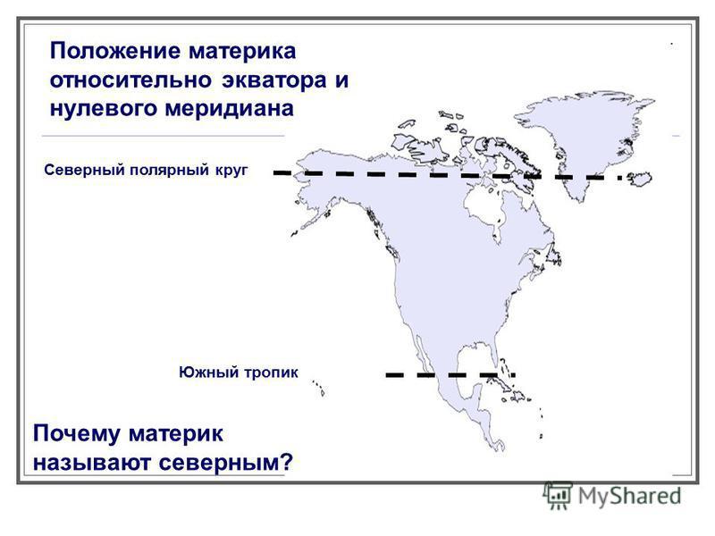 Положение материка относительно экватора и нулевого меридиана Северный полярный круг Южный тропик Почему материк называют северным?