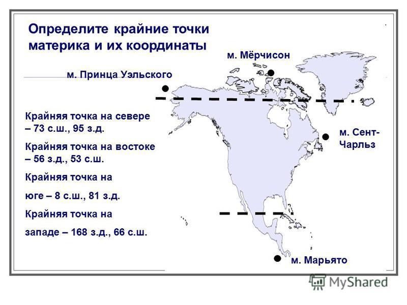 Определите крайние точки материка и их координаты Крайняя точка на севере – 73 с.ш., 95 з.д. Крайняя точка на востоке – 56 з.д., 53 с.ш. Крайняя точка на юге – 8 с.ш., 81 з.д. Крайняя точка на западе – 168 з.д., 66 с.ш. м. Марьято м. Сент- Чарльз м.