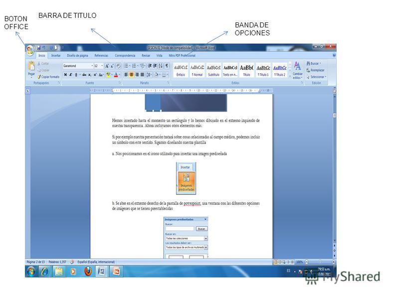 BARRA DE TITULO BOTON OFFICE BANDA DE OPCIONES