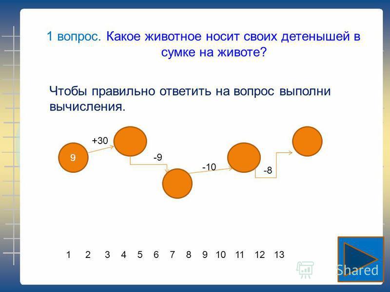 Чтобы правильно ответить на вопрос выполни вычисления. 9 +30 -9 -10 -8 1 вопрос. Какое животное носит своих детенышей в сумке на животе? 12345789101112136