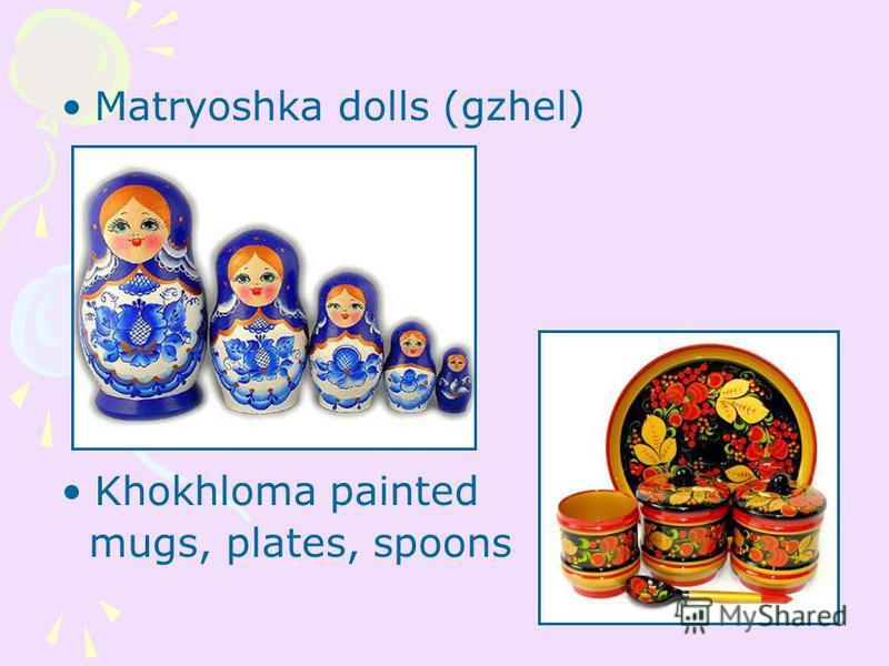 Matryoshka dolls (gzhel) Khokhloma painted mugs, plates, spoons
