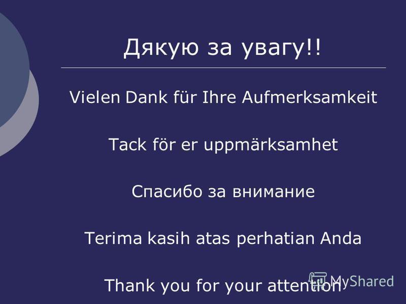 Дякую за увагу!! Vielen Dank für Ihre Aufmerksamkeit Tack för er uppmärksamhet Спасибо за внимание Terima kasih atas perhatian Anda Thank you for your attention