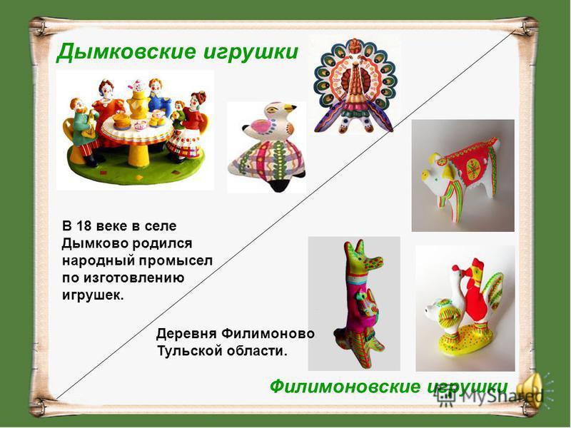 Дымковские игрушки В 18 веке в селе Дымково родился народный промысел по изготовлению игрушек. Филимоновские игрушки Деревня Филимоново Тульской области.
