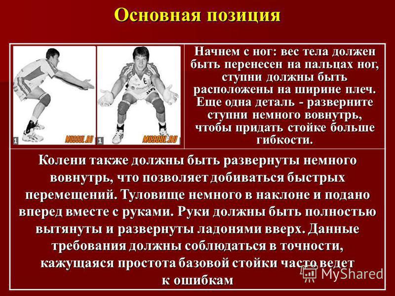 Основная позиция Начнем с ног: вес тела должен быть перенесен на пальцах ног, ступни должны быть расположены на ширине плеч. Еще одна деталь - разверните ступни немного вовнутрь, чтобы придать стойке больше гибкости. Колени также должны быть разверну