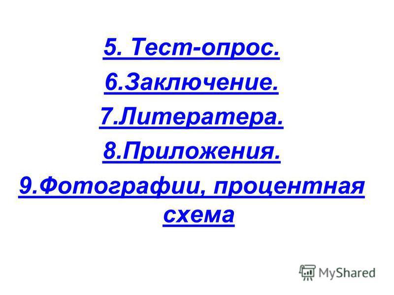 5. Тест-опрос. 6.Заключение. 7.Литератера. 8.Приложения. 9.Фотографии, процентная схема