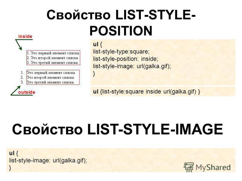 Свойство LIST-STYLE- POSITION ul { list-style-type:square; list-style-position: inside; list-style-image: url(galka.gif); } ul {list-style:square inside url(galka.gif) } Свойство LIST-STYLE-IMAGE ul { list-style-image: url(galka.gif); }