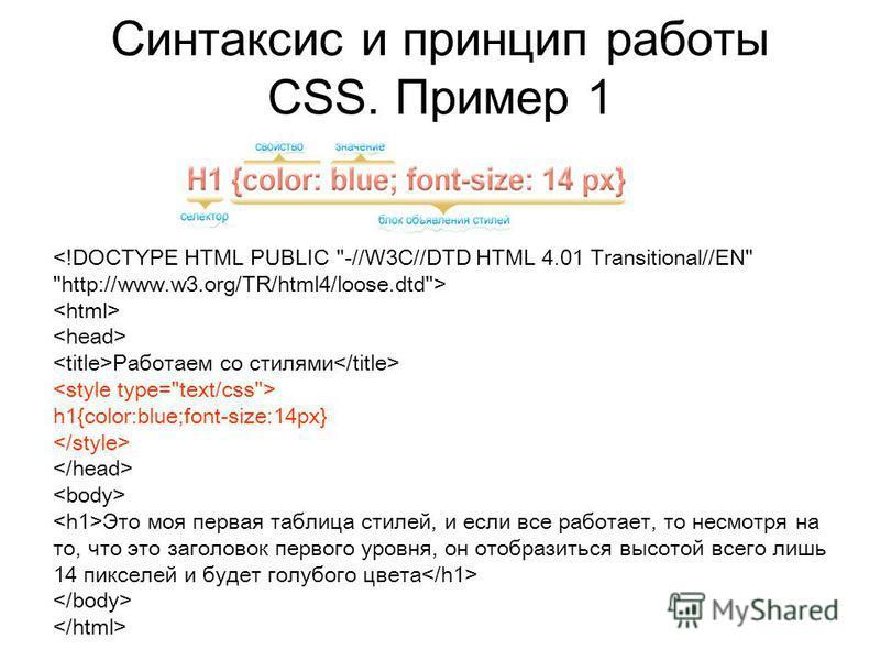 Синтаксис и принцип работы CSS. Пример 1 Работаем со стилями h1{color:blue;font-size:14px} Это моя первая таблица стилей, и если все работает, то несмотря на то, что это заголовок первого уровня, он отобразиться высотой всего лишь 14 пикселей и будет