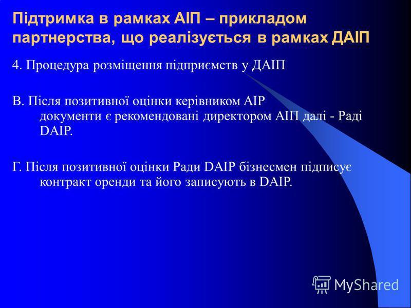 Підтримка в рамках АІП – прикладом партнерства, що реалізується в рамках ДАІП 4. Процедура розміщення підприємств у ДАІП В. Після позитивної оцінки керівником AIP документи є рекомендовані директором АІП далі - Раді DAIP. Г. Після позитивної оцінки Р