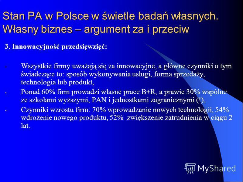 Stan PA w Polsce w świetle badań własnych. Własny biznes – argument za i przeciw 3. Innowacyjność przedsięwzięć: - Wszystkie firmy uważają się za innowacyjne, a główne czynniki o tym świadczące to: sposób wykonywania usługi, forma sprzedaży, technolo