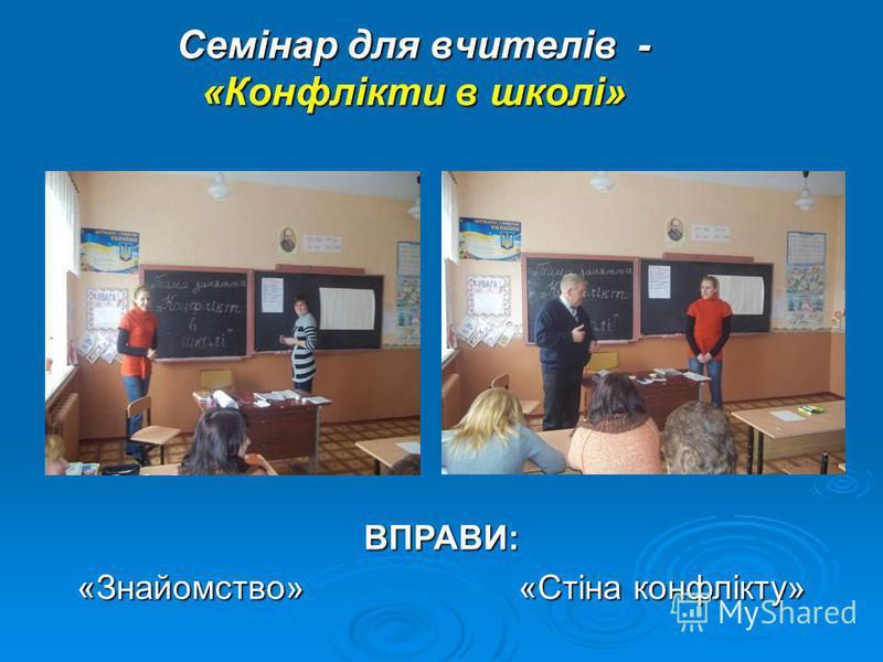 Семінар для вчителів - «Конфлікти в школі» ВПРАВИ: «Знайомство»«Стіна конфлікту»