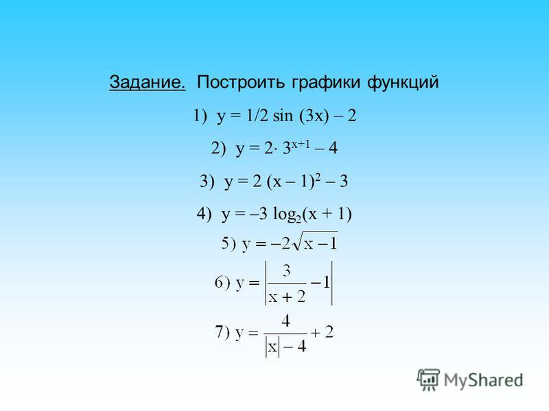 Задание. Построить графики функций 1) у = 1/2 sin (3x) – 2 2) y = 2 3 x+1 – 4 3) y = 2 (x – 1) 2 – 3 4) y = –3 log 2 (x + 1)
