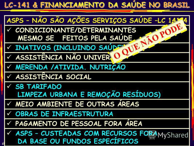 gilson carvalho 25 ASPS – NÃO SÃO AÇÕES SERVIÇOS SAÚDE –LC 141/4 CONDICIONANTE/DETERMINANTES MESMO SE FEITOS PELA SAÚDE INATIVOS (INCLUINDO SAÚDE) ASSISTÊNCIA NÃO UNIVERSAL MERENDA /ATIVIDA. NUTRIÇÃO ASSISTÊNCIA SOCIAL SB TARIFADO LIMPEZA URBANA E RE