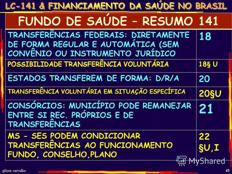 gilson carvalho 43 FUNDO DE SAÚDE – RESUMO 141 TRANSFERÊNCIAS FEDERAIS: DIRETAMENTE DE FORMA REGULAR E AUTOMÁTICA (SEM CONVÊNIO OU INSTRUMENTO JURÍDICO 18 POSSIBILIDADE TRANSFERÊNCIA VOLUNTÁRIA18§ U ESTADOS TRANSFEREM DE FORMA: D/R/A 20 TRANSFERÊNCIA