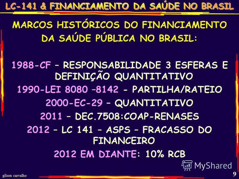 gilson carvalho 9 MARCOS HISTÓRICOS DO FINANCIAMENTO DA SAÚDE PÚBLICA NO BRASIL: 1988-CF – RESPONSABILIDADE 3 ESFERAS E DEFINIÇÃO QUANTITATIVO 1990-LEI 8080 –8142 - PARTILHA/RATEIO 2000-EC-29 – QUANTITATIVO 2011 – DEC.7508:COAP-RENASES 2012 – LC 141