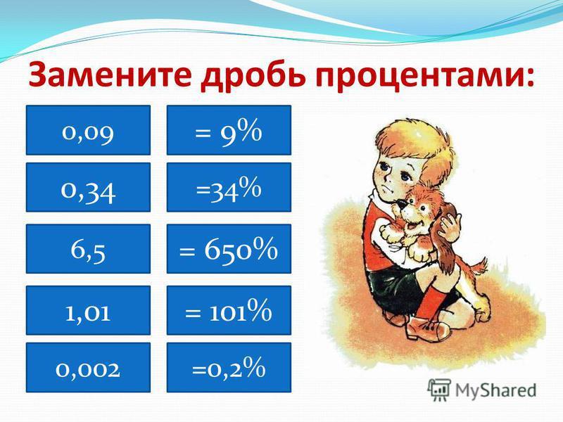 Замените дробь процентами: 0,09 0,34 6,5 0,002 =34% 1,01 = 9% = 650% = 101% =0,2%