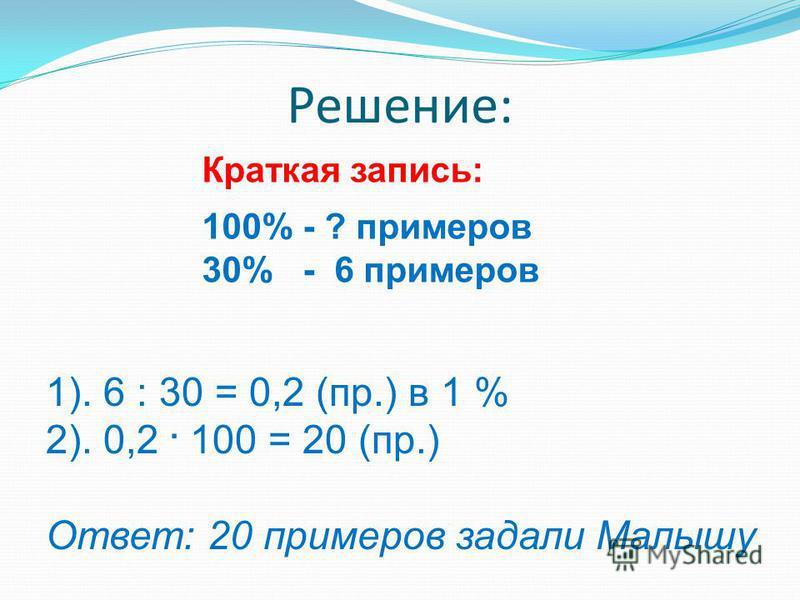Решение: Краткая запись: 100% - ? примеров 30% - 6 примеров 1). 6 : 30 = 0,2 (пр.) в 1 % 2). 0,2. 100 = 20 (пр.) Ответ: 20 примеров задали Малышу
