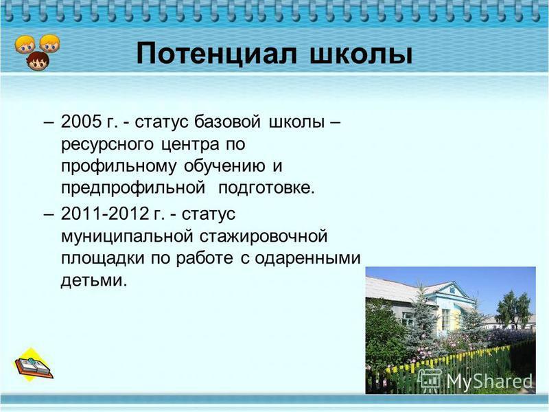 Потенциал школы –2005 г. - статус базовой школы – ресурсного центра по профильному обучению и предпрофильной подготовке. –2011-2012 г. - статус муниципальной стажировочной площадки по работе с одаренными детьми.