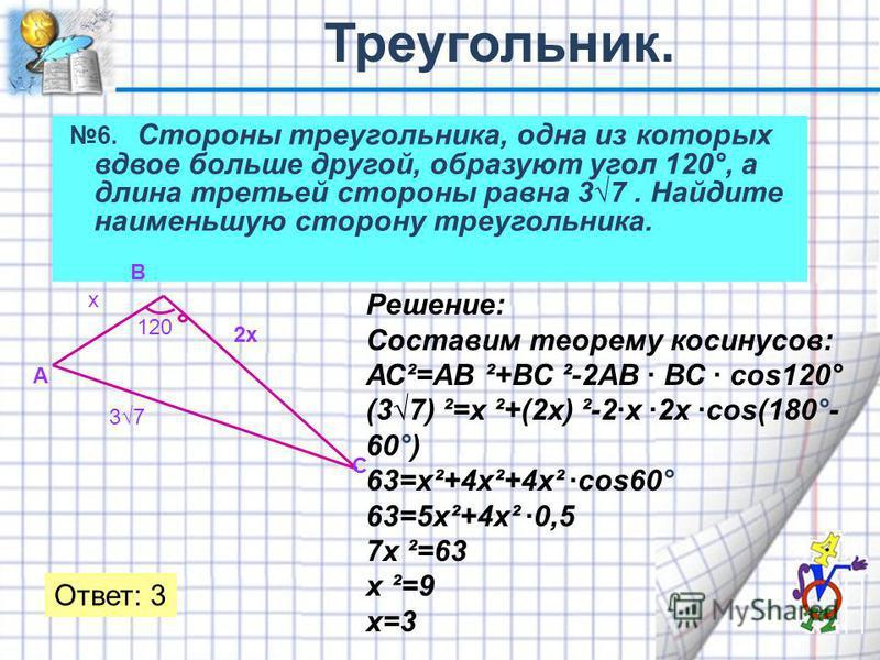 6. Стороны треугольника, одна из которых вдвое больше другой, образуют угол 120°, а длина третьей стороны равна 37. Найдите наименьшую сторону треугольника. 120 37 х 2 х Решение: Составим теорему косинусов: АС²=АВ ²+ВС ²-2АВ · ВС · cos120° (37) ²=х ²