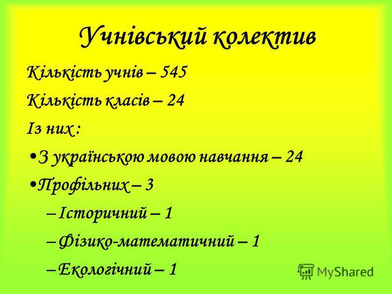 Учнівський колектив Кількість учнів – 545 Кількість класів – 24 Із них : З українською мовою навчання – 24 Профільних – 3 –Історичний – 1 –Фізико-математичний – 1 –Екологічний – 1