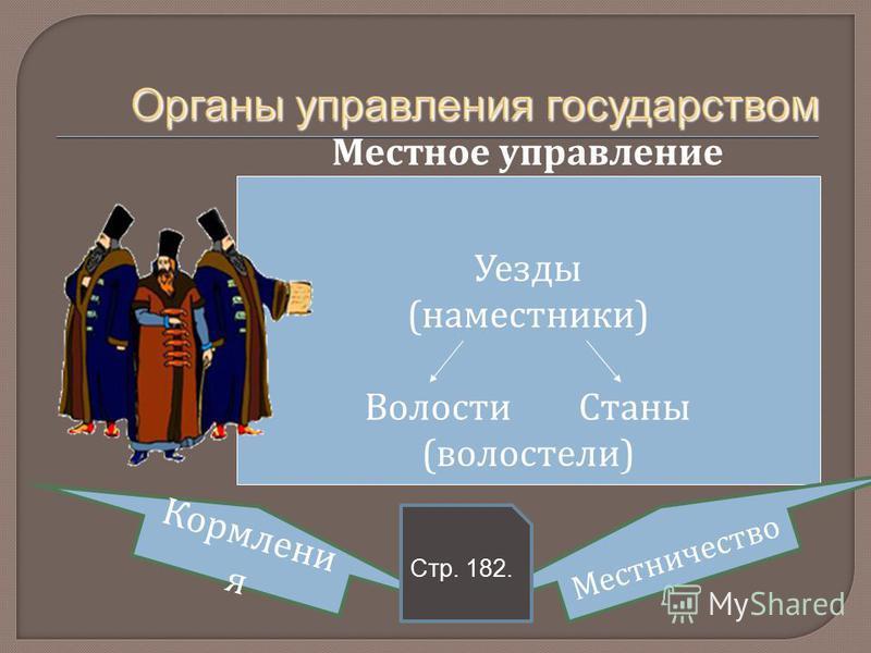 Местное управление Уезды (наместники) Волости Станы (волостели) Кормлени я Местничество Стр. 182.